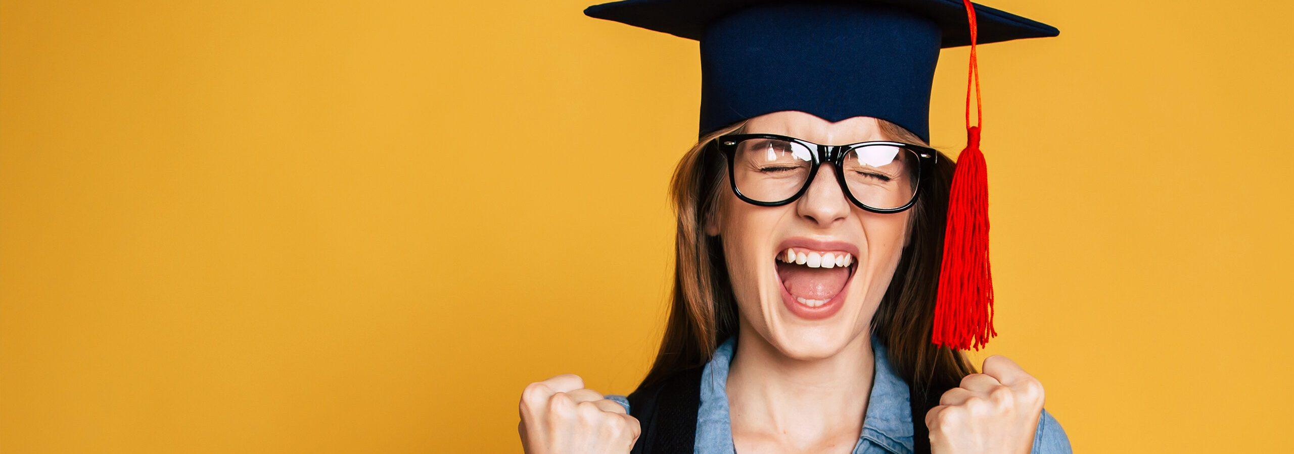 Woman celebrating graduation